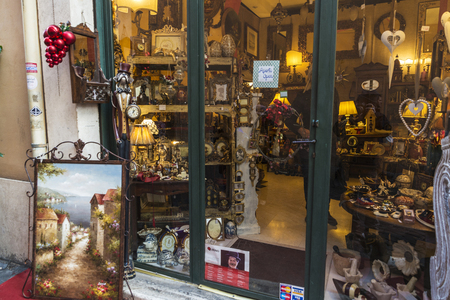 Rome, Italy - December 31, 2016: Decoration and furniture store in the historic center of Rome, Italy Redakční