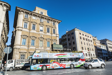 truck driver: Rome, Italy - January 5, 2017: Tour bus between traffic in Rome, Italy