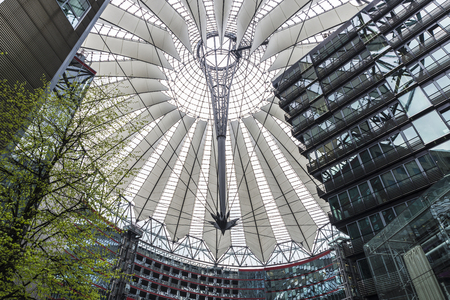 Shopping center with office buildings next to Potsdamer Platz on the street in Berlin, Germany Stock Photo