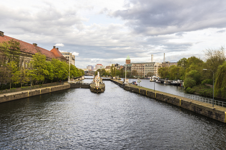 dikes: Dikes with sluice gates on the Spree river in Berlin, Germany
