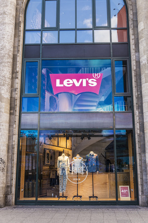levi: Berlin, Germany - April 14, 2017: Levi Strauss or Levis shop in the center of Berlin, Germany