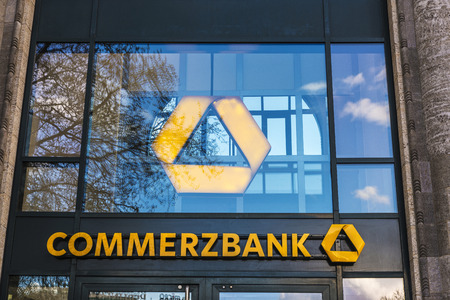 Berlin, Germany - April 14, 2017: Branch of the Commerzbank bank in Berlin, Germany
