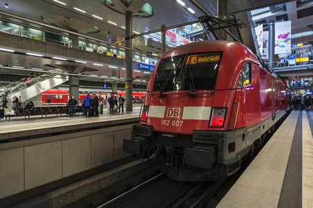 Berlin, Germany - April 15, 2017: Passengers waiting a train in Berlin Central Station, the main railway station in Berlin, Germany Editorial