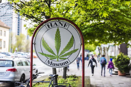 april 15: Berlin, Germany - April 15, 2017: Advertisement of the Hemp Museum (Hanf museum) in Berlin, Germany
