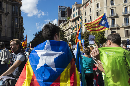 Barcelona, Spain - September 20, 2017: People at rally demanding independence for Catalonia Editorial