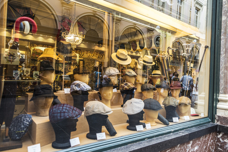 Brussels, Belgium - August 26, 2017: Millinery store in the Galeries Royales Saint Hubert in Brussels, Belgium