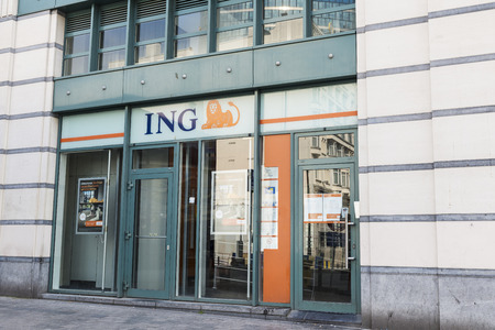 Brussels, Belgium - August 27, 2017: Branch of the ING bank in the center of Brussels, Belgium Editorial