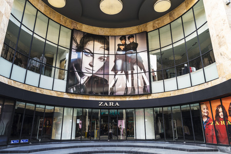 Brussels, Belgium - August 27, 2017: Zara shop in the center of Brussels, Belgium