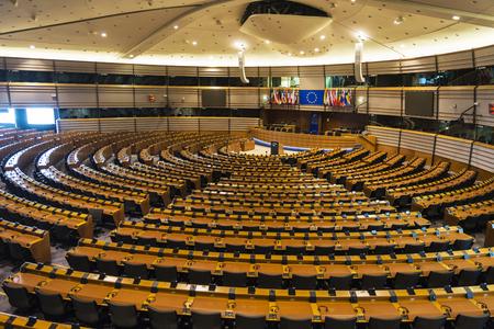 Brussel, België - 28 augustus 2017: interieur van het Europees Parlement genaamd Espace Leopold in Brussel, België Stockfoto - 88953329
