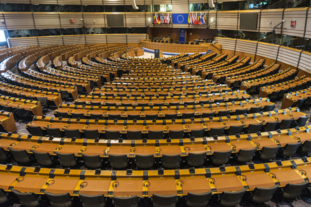 Brussel, België - 28 augustus 2017: interieur van het Europees Parlement genaamd Espace Leopold in Brussel, België