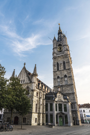 Bell tower called Belfry in the medieval city of Ghent in Belgium Stockfoto