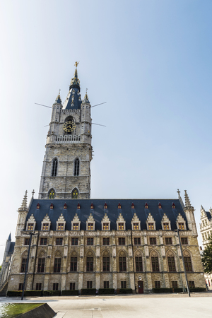Belfry of Ghent, bell tower, next to the Cloth Hall in the medieval city of Ghent, Belgium