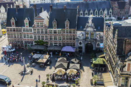 Ghent, Belgium - August 29, 2017: View of a square with bars terrace and restaurants located in the old town of the historic city of Ghent in Belgium with people around 報道画像