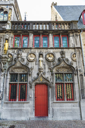 The Basilica of the Holy Blood in the medieval city of Bruges, Belgium