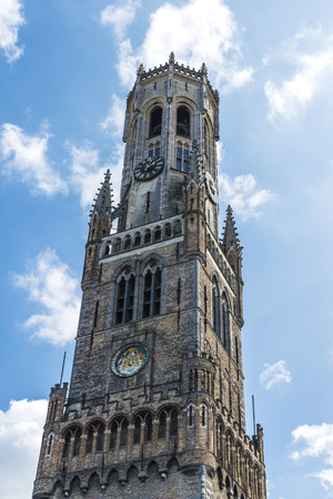 Belfry is a medieval bell tower in the historic center of Bruges, Belgium