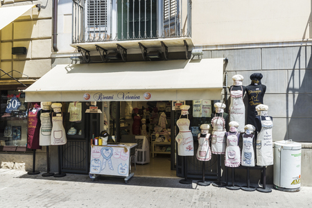 Palermo, Italy - August 10, 2017: Aprons shop of Ricami Veronica in the center of Palermo in Sicily, Italy