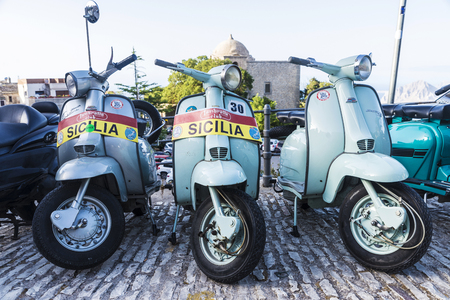 Erice, Italy - August 11, 2017: Old Lambretta motorbike in the old town of the historic village of Erice in Sicily, Italy