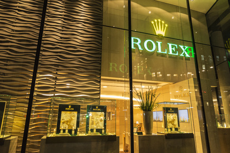 London, United Kingdom - January 3, 2018: Rolex store, specializing in luxury watches, located in a modern building in London, England, United Kingdom Editorial