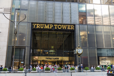 New York City, USA - July 28, 2018: Entrance to Trump Tower in Fifth Avenue (5th Avenue) with people around in Manhattan in New York City, USA Editorial