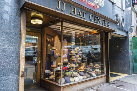 New York City, USA - July 25, 2018: Millinery store called JJ Hat Center in 5th Avenue (Fifth Avenue) in Manhattan in New York City, USA
