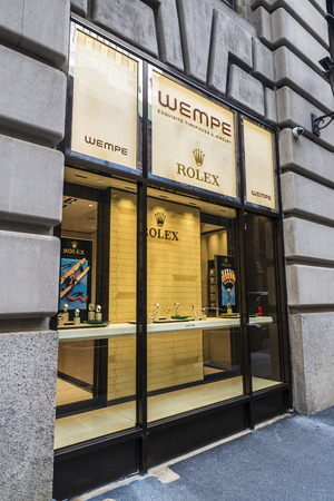 New York City, USA - July 28, 2018: Display of a luxury Wempe jewelry in Fifth Avenue (5th Avenue) with an ad by Rolex in Manhattan in New York City, USA