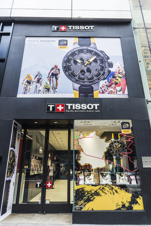 New York City, USA - July 28, 2018: Display of a luxury Tissot jewelry in Fifth Avenue (5th Avenue) in Manhattan in New York City, USA Éditoriale