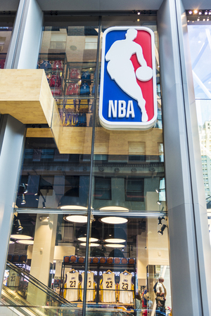 New York City, USA - July 28, 2018: NBA, luxury basketball sports goods store, in Fifth Avenue (5th Avenue) in Manhattan in New York City, USA Editorial