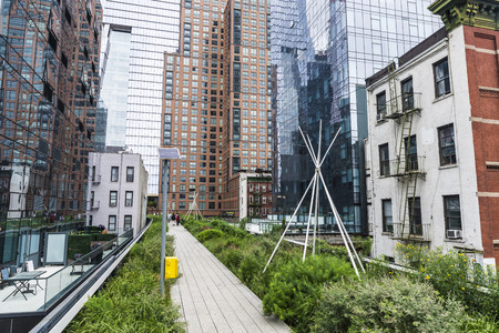High Line Elevated Park is a elevated linear park, greenway and rail trail in Manhattan in New York City, USA