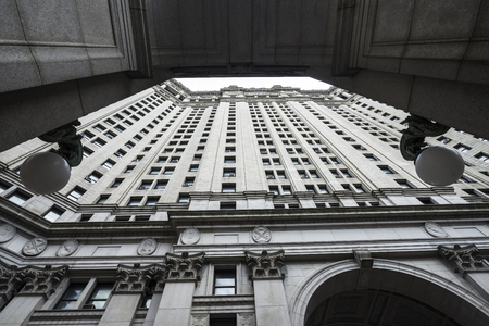 Symmetric perspective of the facade of the Manhattan Municipal Building in Manhattan in New York City, USA Stock Photo