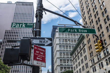 Sign of Park Row Street and semaphores in Manhattan, New York City, USA 스톡 콘텐츠