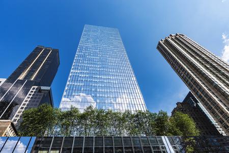 Facade of modern skyscrapers in Manhattan, New York City, USA