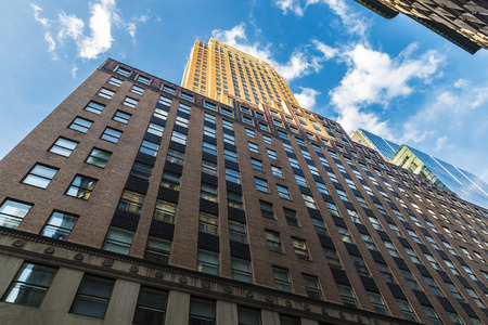 Facade of a skyscraper in Manhattan, New York City, USA 스톡 콘텐츠