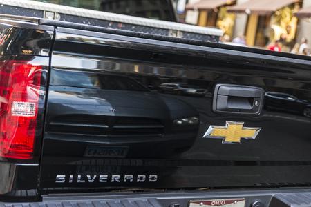 New York City, USA - July 29, 2018: Back of a black Chevrolet Silverado parked on a street in Manhattan, New York City, USA