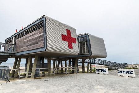New York City, USA - July 30, 2018: Red Cross aid station on the promenade of Coney Island Beach and Brighton Beach in New York City, USA