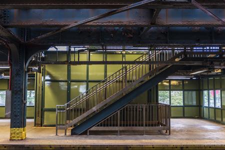 Old rusty staircase on the West Eighth Street–New York Aquarium (New York City Subway) in Coney Island Beach, Brooklyn, New York City, USA