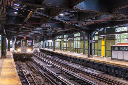 Train on the West Eighth Street–New York Aquarium (New York City Subway) in Coney Island Beach, Brooklyn, New York City, USA