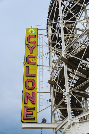 New York City, USA - July 30, 2018: Cyclone neon sign in the Luna Park amusement park on summer in Coney Island Beach, Brooklyn, New York City, USA