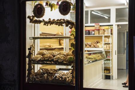 Cardona, Spain - October 31, 2016: Showcase of a traditional bakery in the old town of Cardona, Catalonia, Spain