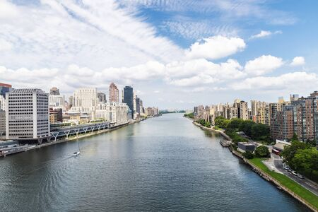 Elevated view of the Upper East Side skyline, Roosevelt Island and the East River in New York City, USA Stock Photo
