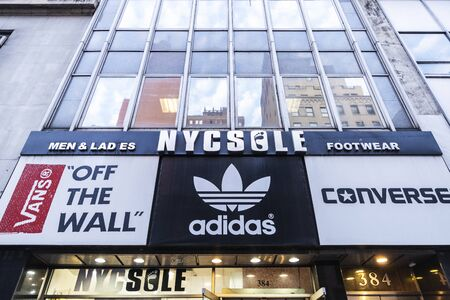 New York City, USA - August 1, 2018: Nycsole, sports goods store, in Fifth Avenue (5th Avenue) in Manhattan, New York City, USA