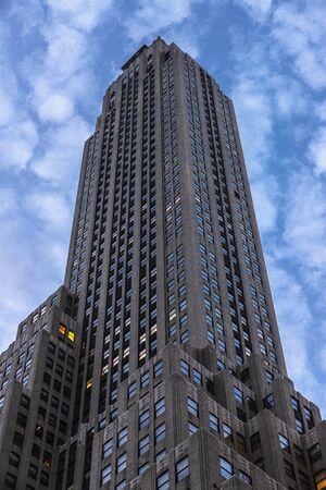 Low-angle shot of modern skyscraper in 500 Fifth Avenue, Manhattan, New York City, USA