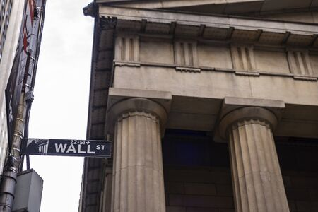 Sign of the Wall Street, headquarters of the New York Stock Exchange, in Manhattan, New York City, USA 写真素材