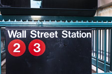 Sign of the Wall Street Station, headquarters of the New York Stock Exchange, in Manhattan, New York City, USA