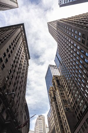 Low-angle shot of modern skyscrapers in Manhattan, New York City, USA