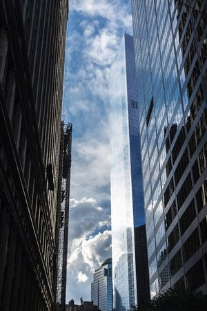 Perspective of modern skyscrapers in Lower Manhattan, New York City, USA