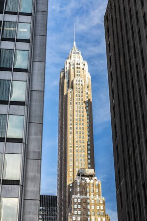 Low angle shot of modern skyscrapers in Manhattan, New York City, USA