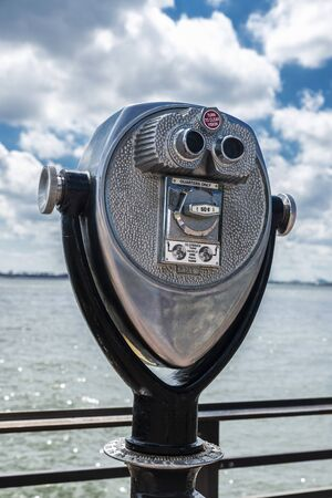 Metal coin-operated binoculars on Liberty Island, New York City, USA