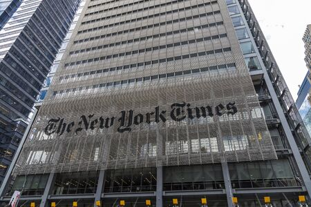 New York City, USA - August 2, 2018: Facade of The New York Times (NYT and NYTimes) headquarters on Eighth Avenue, Manhattan, New York City, USA Redakční