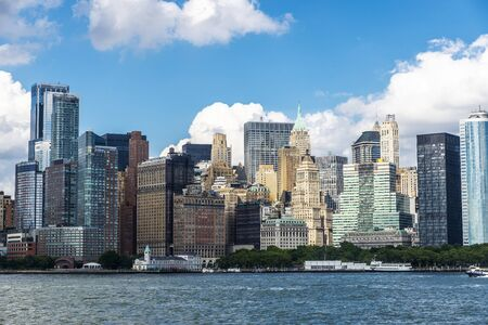 View of the skyline of modern skyscrapers of Manhattan and Battery Park in New York City, USA Stock Photo