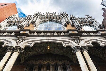 Facade of the Harlem Hebrew, language academy charter school, in Harlem, Manhattan, New York City, USA 写真素材
